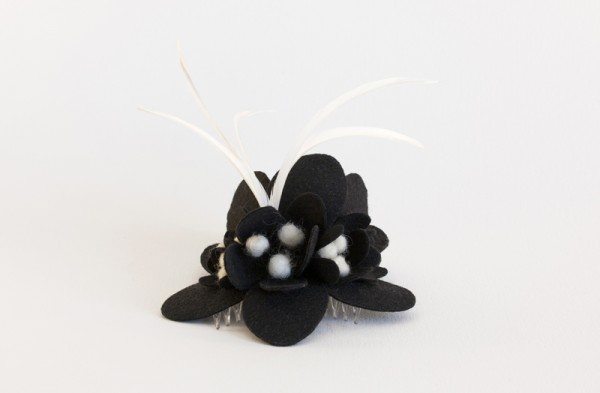 black and white fascinator with feathers